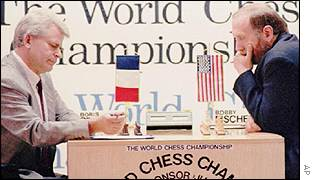 Boris Spassky (left) playing Bobby Fischer