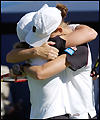 Lisa Raymond and Rennae Stubbs celebrate their doubles triumph