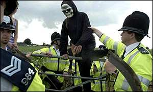 Police at a GM crop protest