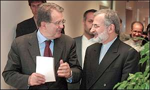 European Commission president Romano Prodi of Italy with Iranian foreign affairs minister Kamal Kharrazi