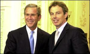 Prersident George W Bush and Prime Minister Tony Blair