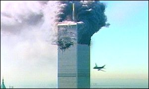 Plane swerves to hit the World Trade Center