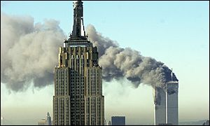Smoke floats across the Empire State building