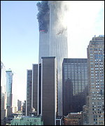 Trade center on fire