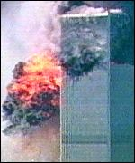 The moment the second plane his the twin towers