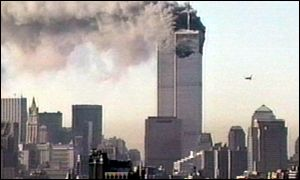 CNN shot of plane and World Trade Centre