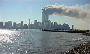 Smoke floats over Manhattan