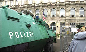 An armoured personnel carrier guards the US embassy in Berlin