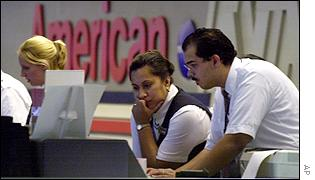 American Airlines staff at Logan International Airport in Boston