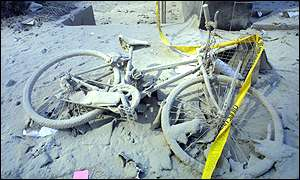 Bicycle covered in powder and debris