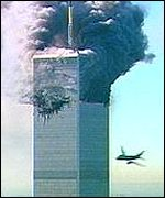 Second plane about to hit World Trade Center