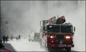 A fire engine near the World Trade Center, New York