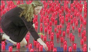 Girl with red candles in German tribute