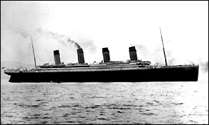 The Titanic setting sail from Southampton in 1912