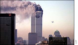 The second plane approaches the South Tower