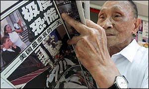 Chinese man reading newspaper