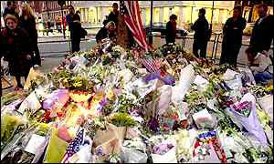 Floral tributes to US bomb victims