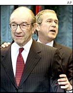US Fed Chairman Alan Greenspan with President Bush