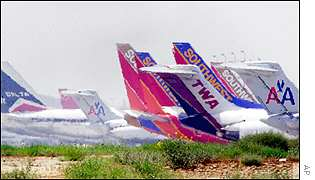 Tails of grounded airlines in the US