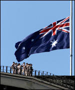 Flags in Australia have been flitting at half mast - this one is on the Sydney Harbour Bridge