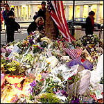 Flowers outside the US embassy in London