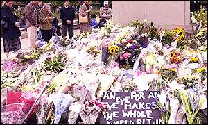 Flowers at the American Embassy in London