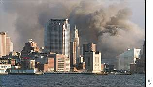 Smoke billowing from World Trade Center