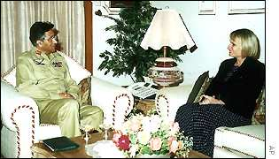 President Musharraf with US ambassador Wendy Chamberlin