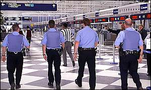 Police patrolling O'Hare airport, Chicago