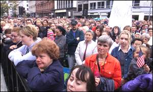 Crowds packed Belfast city centre as a mark of respect