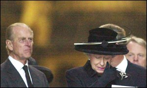 Queen Elizabeth leaving St Paul's Cathedral with, left, Prince Philip
