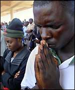Mourners join a remembrance service in Kenya