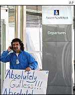 Angry Ansett worker outside a closed terminal in Sydney