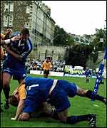 Bath and Newcastle players get intimate