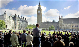 Parliament Square during the three minute silence for victims of the US atrocity