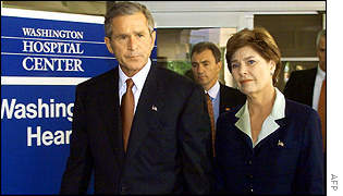 George and Laura Bush at Washington hospital