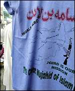 A pro-Osama bin Laden t-shirt on sale in Peshawar