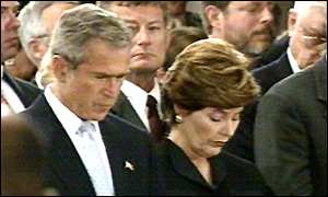 George Bush and his wife attend the memorial service in Washington