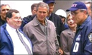 President George W Bush meets some of New York's rescue teams
