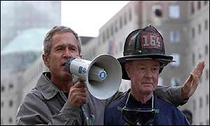 President Bush with New York firefighter Bob Beckwith