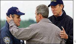 President Bush with New York Mayor Rudolph Giuliani, left, and Governor George Pataki, right
