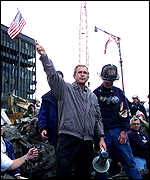 George Bush at the World Trade Center