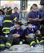 Firefighters take a break at WTC