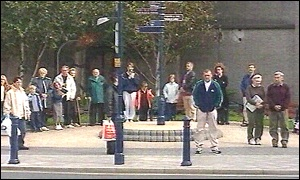 People observing a 3 minute silence