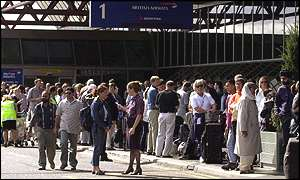 Queues of passengers at Heathrow