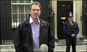 Blair speaking outside Downing Street