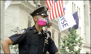 Policeman stand in front of the New York Stock Exchange