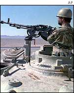 Machine-gunner on Iranian tank