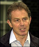 Tony Blair speaking in Downing Street on Sunday
