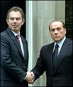 Tony Blair and Silvio Berlusconi